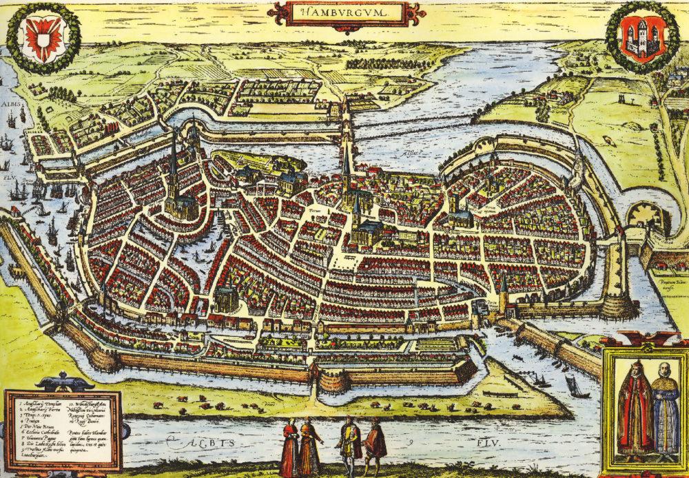 Stadtansicht Hamburg, um 1587 (Georg Braun; Franz Hogenberg)